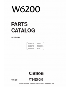 Canon Wide-Format-InkJet W6200 Parts Catalog Manual