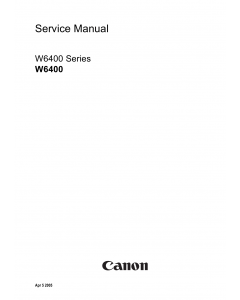Canon Wide-Format-InkJet W6400 Parts and Service Manual