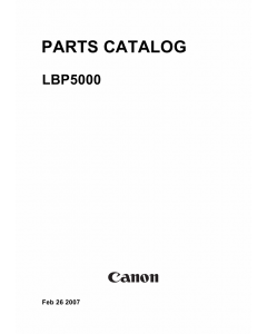Canon imageCLASS LBP-5000 Parts Catalog Manual
