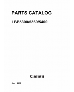 Canon imageCLASS LBP-5300 5360 5400 Parts Catalog Manual