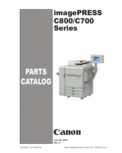 Canon imagePRESS C800 C700 Parts Catalog Manual