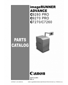 Canon imageRUNNER-ADVANCE-iR C7260 C7270 C9270 C9280Pro Parts Catalog