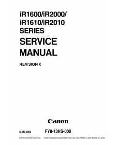 Canon imageRUNNER-iR 1600 1610 2000 2010 F Service Manual