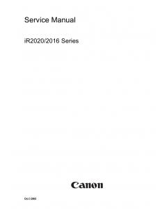 Canon imageRUNNER-iR 2020 2016 J Service Manual