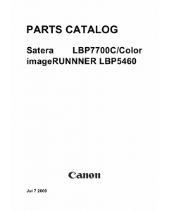 Canon imageRUNNER-iR LBP-7750 7700C 5460 Parts Catalog Manual