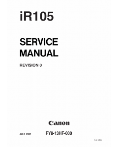Canon imageRUNNER iR-105 Parts and Service Manual