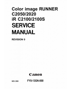Canon imageRUNNER iR-C2050 C2020 C2100 C2100S Parts and Service Manual