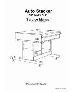 KIP 1200 K-54 Auto-Stacker Parts and Service Manual