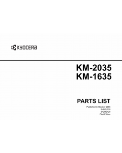 KYOCERA Copier KM-1635 2035 Parts Manual