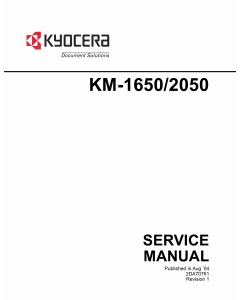 KYOCERA Copier KM-1650 2050 Parts and Service Manual