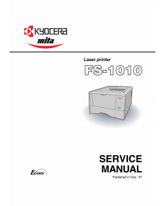 KYOCERA LaserPrinter FS-1010 Parts and Service Manual