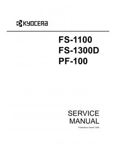 KYOCERA LaserPrinter FS-1100 FS-1300D PF-100 Parts and Service Manual