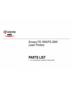 KYOCERA LaserPrinter FS-1800 3800 Parts Manual