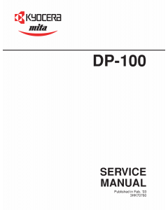 KYOCERA Options DP-100 Parts and Service Manual