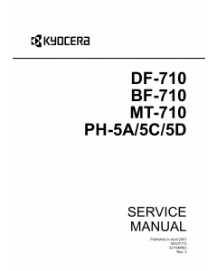 KYOCERA Options Document-Feeder DF-710 BF-710 MT-710 PH-5A-5C-5D Service Manual
