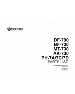 KYOCERA Options Document-Feeder DF-790 BF-730 MT-730 AK-730 PH-7A-7C-7D TASKalfa 3500i 4500i 5500i Parts Manual