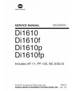 Konica-Minolta MINOLTA Di1610p Di1610fp FIELD-SERVICE Service Manual