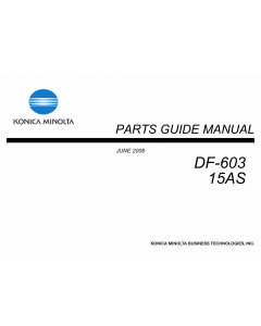 Konica-Minolta Options DF-603 15AS Parts Manual