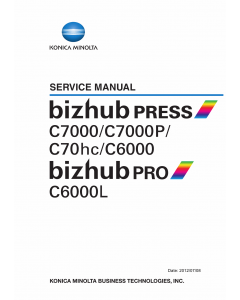 Konica-Minolta bizhub-PRESS C7000 C7000P C6000 C70hc PRO 6000L Service Manual