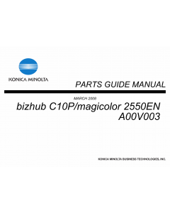 Konica-Minolta magicolor 2550EN A00V003 Parts Manual