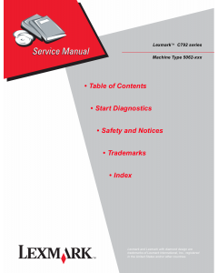 Lexmark C C792 5062 Service Manual