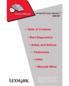 Lexmark ColorJetprinter Z51 4098 Service Manual