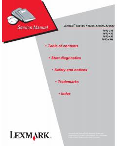 Lexmark X X264dn X363dn X364dn X364dw 7013 Service Manual
