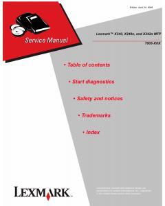 Lexmark X X340 X340n X342MFP 7003 Service Manual