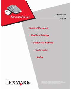 Lexmark X X4500Scanner 4036 Service Manual