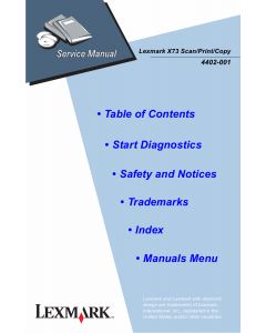 Lexmark X X73 4402 Service Manual