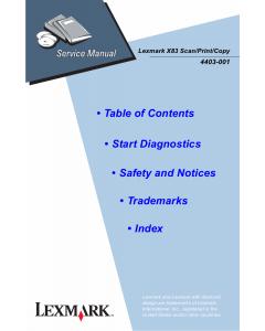 Lexmark X X83 4403 Service Manual