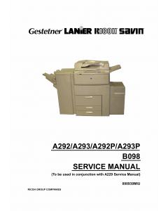 RICOH Aficio 1055 551 700 551P 700P A292 A293 B098 Service Manual