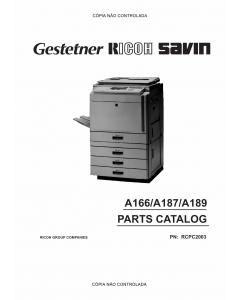 RICOH Aficio 2003 2103 2203 A166 A187 A189 Parts Catalog