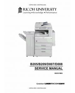 RICOH Aficio 3025 3030 MP2510 MP3010 B205 B209 D007 D008 Service Manual