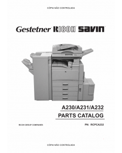 RICOH Aficio 340 350 450 A230 A231 A232 Parts Catalog