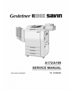 RICOH Aficio 5106 5206 A199 A172 Parts Service Manual