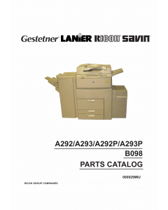 RICOH Aficio 551 551P 700 700P 1055 A292 A293 G594 B098 Parts Catalog