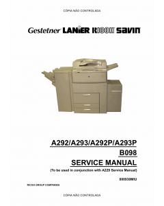 RICOH Aficio 551 551P 700 700P 1055 A292 A293 G594 B098 Service Manual