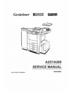 RICOH Aficio 6010 6110 A257 A269 Parts Service Manual