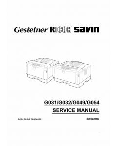 RICOH Aficio AP-1400 AP1600 AP2000 AP2100 G031 G032 G049 G054 Parts Service Manual