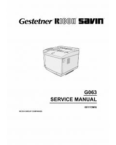 RICOH Aficio AP-206 G063 Parts Service Manual