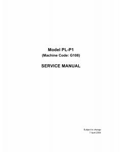 RICOH Aficio CL-1000N G108 Service Manual