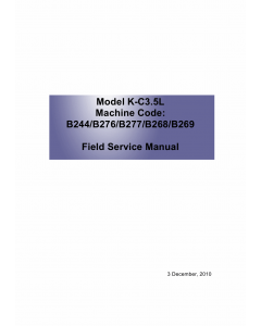 RICOH Aficio MP-1600L2 B244 B276 B277 B268 B269 Service Manual