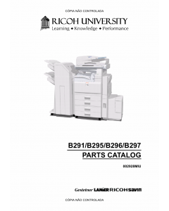 RICOH Aficio MP-3500g 4500g 3500 4500 B291 B295 B296 B297 Parts Catalog