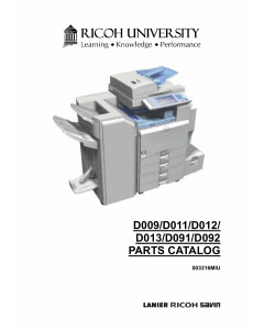 RICOH Aficio MP-4000 4001SP 40001G 5000 5001SP 5001G D009 D011 D012 D013 D091 D092 Parts Catalog