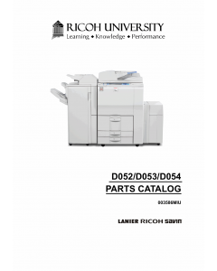 RICOH Aficio MP-5500 6500 7500 6000 7000 8000 2501 2075 D054 D053 D052 B253 B252 B250 B249 B248 B246 B228 Parts Catalog
