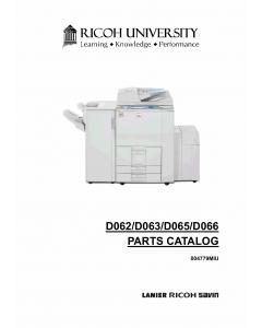 RICOH Aficio MP-6001 7001 8001 9001 D062 D063 D065 D066 Parts Catalog