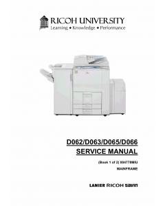 RICOH Aficio MP-6001 7001 8001 9001 D062 D063 D065 D066 Service Manual