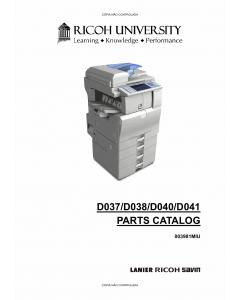 RICOH Aficio MP-C2030 C2050 C2530 C2550 D037 D038 D040 D041 Parts Catalog