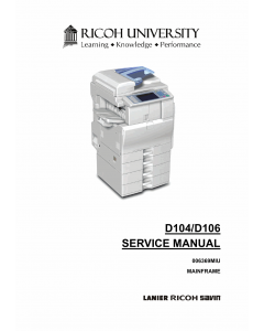 RICOH Aficio MP-C2051 C2551 D104 D106 Service Manual